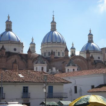 Blue dome of Inmaculada Concepción Cathedral, Ecuador