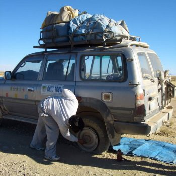 Changing punctured wheel, Bolivia