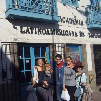 Students in front of the school, Ecuador