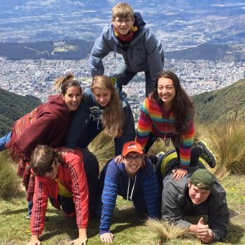 Students doing a piramid, Ecuador