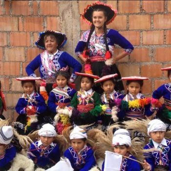 Kids wearing traditional dresses, Cusco, Peru