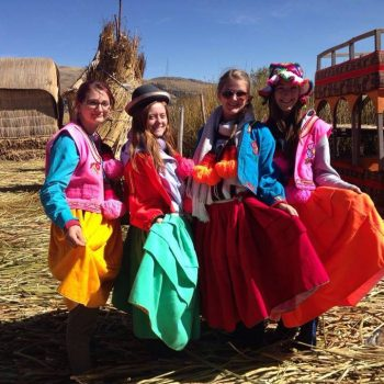 Students with traditional dresses. Peru