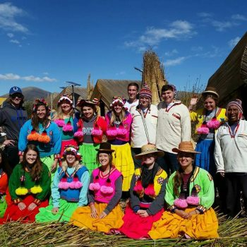 Wearing traditional dresses, Peru