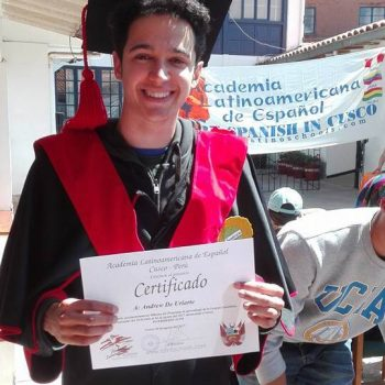 Student with his certificate, Peru