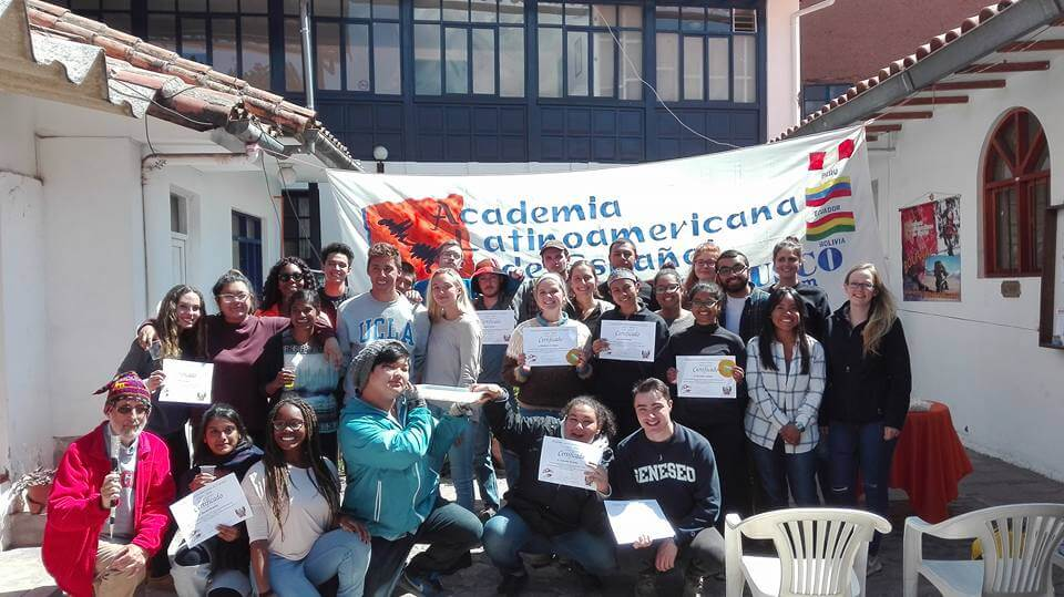 Students with certificates, Peru