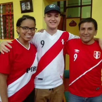 Students with soccer shirts, Peru
