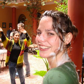 Student in foam party, Sucre, Bolivia