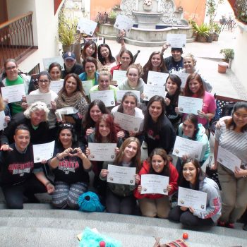 Students group with their certificates, Quito, Ecuador