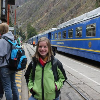 Student in Perurail station, Cusco, Peru