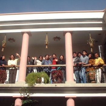 Students on the balcony, Sucre, Bolivia