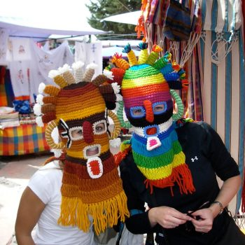 Students wearing diabluma masks, Quito, Ecuador