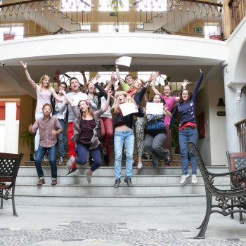 Students Jumping on the stairs, Quito, Ecuador