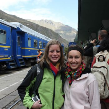 Students befoer taking the Perurail, Cusco, Peru