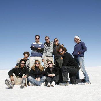 Students in Salar de Uyuni, Bolivia