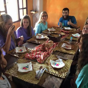 Students eating in the dining room, Sucre, Bolivia