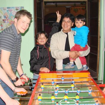 Students playing table football, Sucre, Bolivia