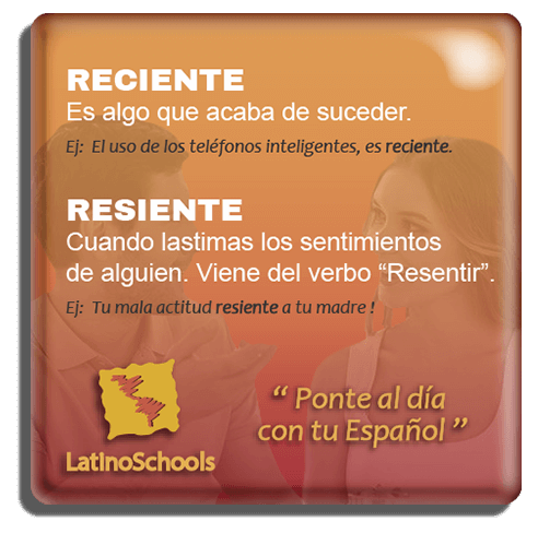 "Spanish learning pill ""Reciente & Resiente"""