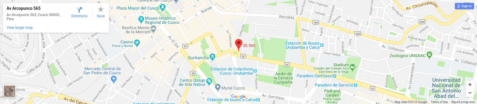Academia Latinoamericana Spanish school in Cusco location map