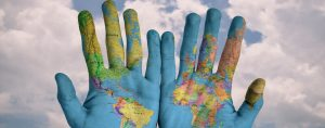 World Map in hands