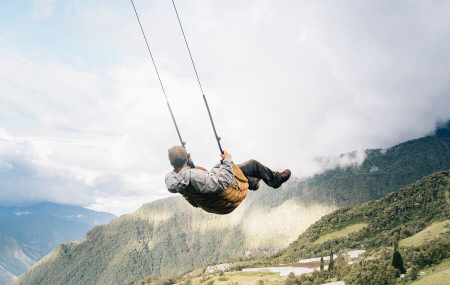 Swing located in Banos in Ecuador