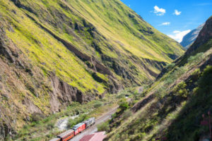 Train through the mountains in Ecuador